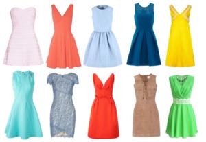 diferentes colores de vestido
