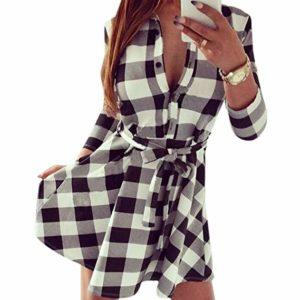 vestido corto de cuadros