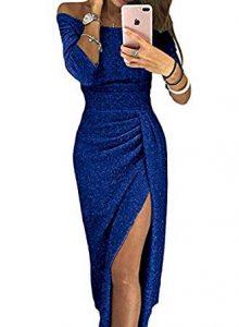 vestido azul con abertura