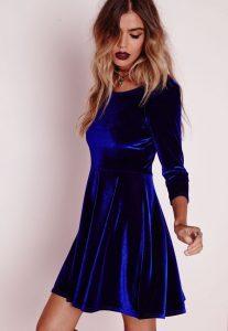 vestido azul de terciopelo