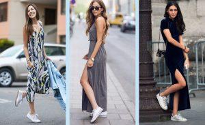 vestidos largos con zapatos deportivos