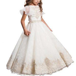 vestidos de comunion con detalles en beige