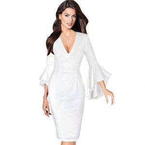 vestido elegante con escote