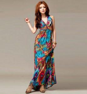 vestido hippie colores vivos