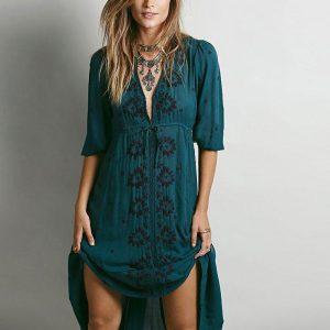 vestido hippie cintura alta