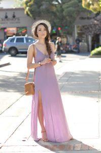 vestido largo con zapatos de tacon
