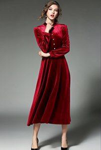 vestido manga larga de terciopelo