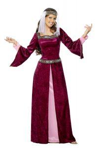 vestido medieval con velo
