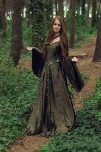 vestido medieval verde