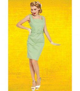 vestido verde años 50