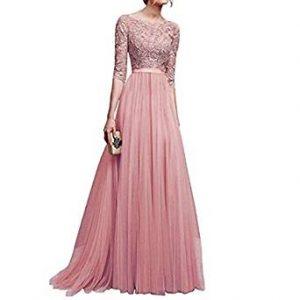 vestido rosa con encaje