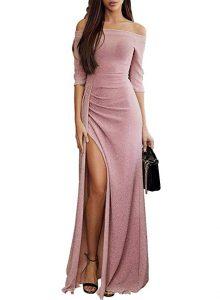 vestido rosa off shoulder