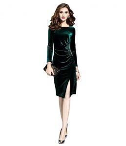 vestido de terciopelo verde