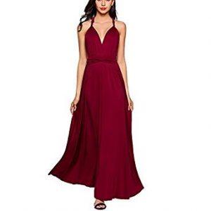 vestido vinotinto con escote