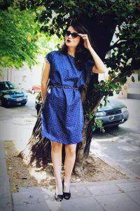 vestido vintage con lentes